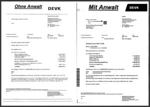 abrechnungsschreiben, unfallregulierung, versicherung, anwalt